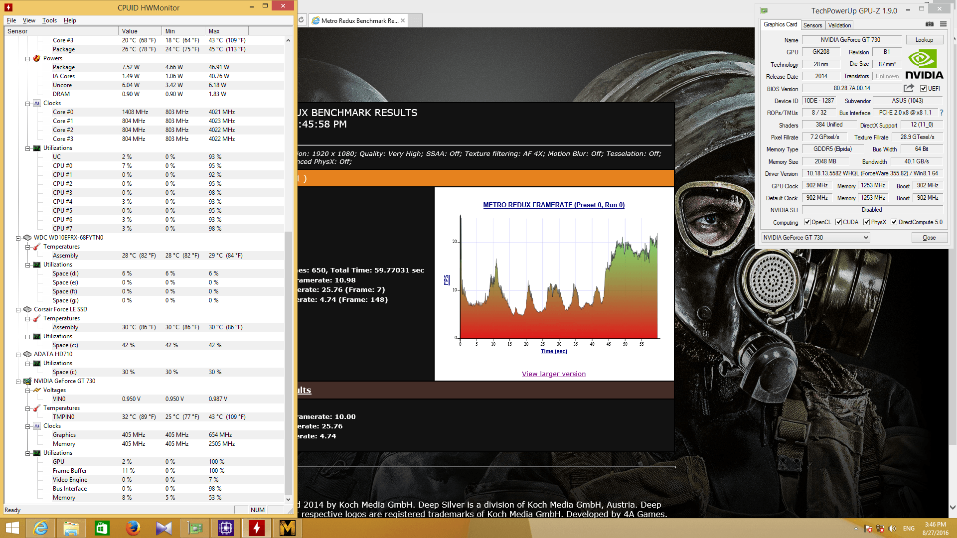 metro 2033 Very High1920x1080 in GT 730 2G GDDR5 64bit