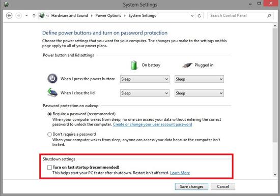 رفع مشکل خاوش نشدن ویندوز 10 با Shutdown settingتیک گزینه ی Turn on fast start up