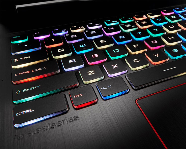 لپتاپ GE63VR 7RE RAIDER، کیبورد SteelSeries با پوشش نقرهای و قابلیت تنظیم رنگ مجزا برای هر کلید